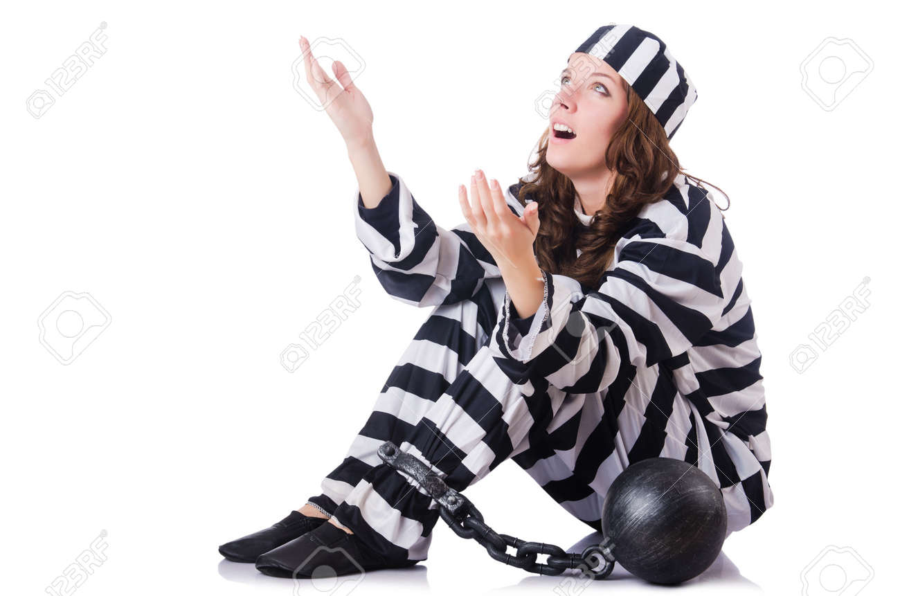 Prisoner in striped uniform on white Stock Photo - 18679854