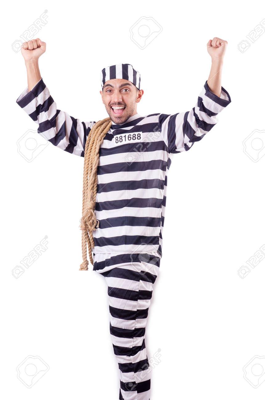Convict criminal in striped uniform Stock Photo - 18611038