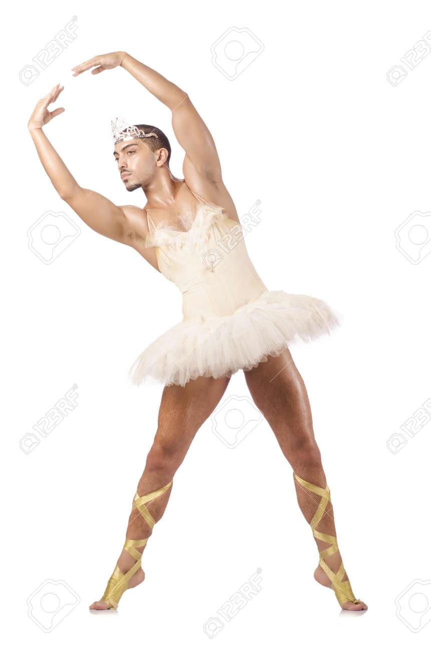 Man in ballet tutu isolated on white Stock Photo - 18679403
