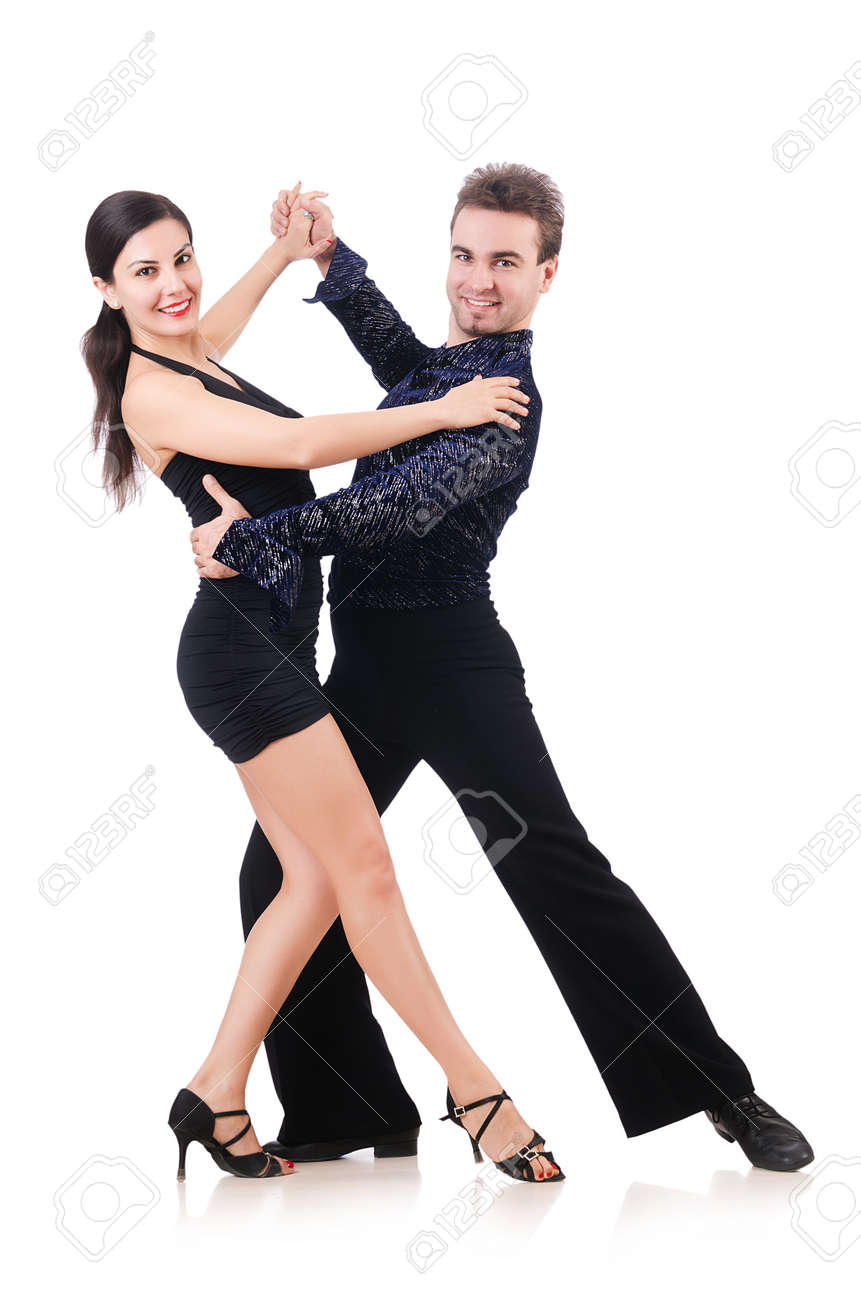 Pair of dancers isolated on the white Stock Photo - 18802784