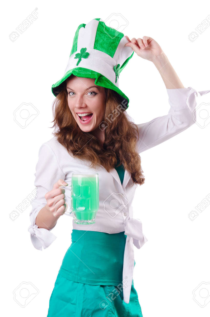 Young girl in saint patrick celebration concept Stock Photo - 18802831