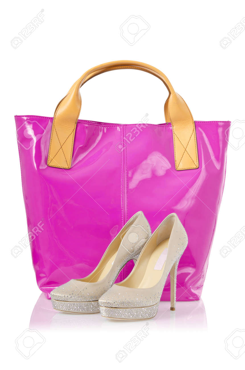 Elegant bag and shoes on white Stock Photo - 18743956