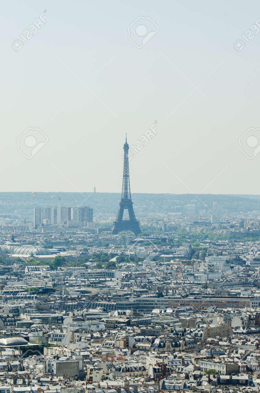 Skyline of Paris on bright summer day Stock Photo - 18744954
