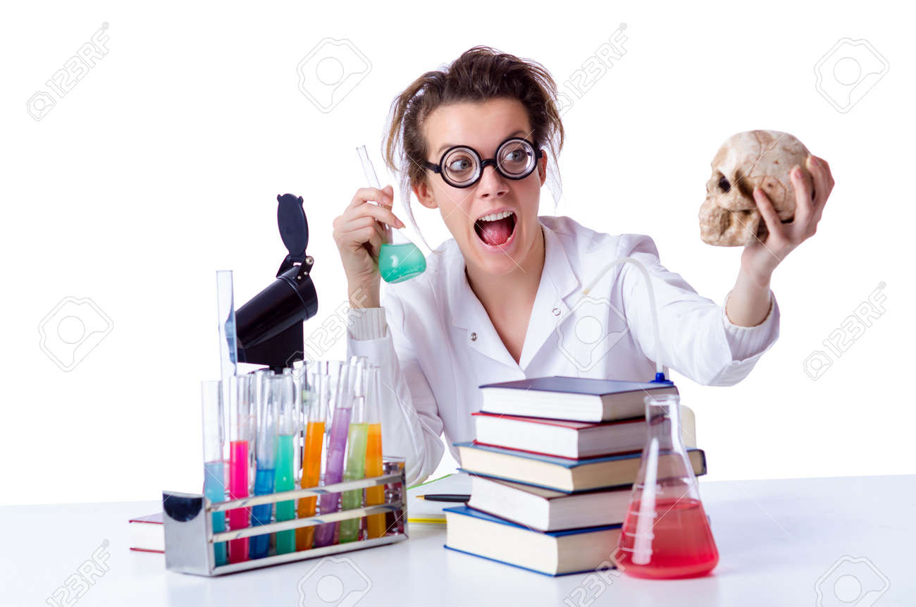 Crazy female chemist in lab Stock Photo - 18802970