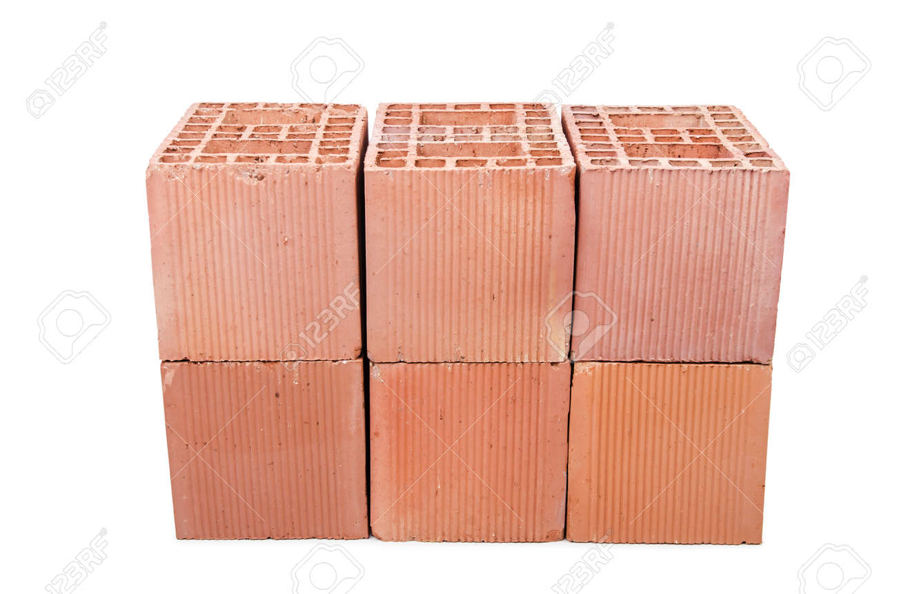 Stack of clay bricks isolated on white Stock Photo - 18744397
