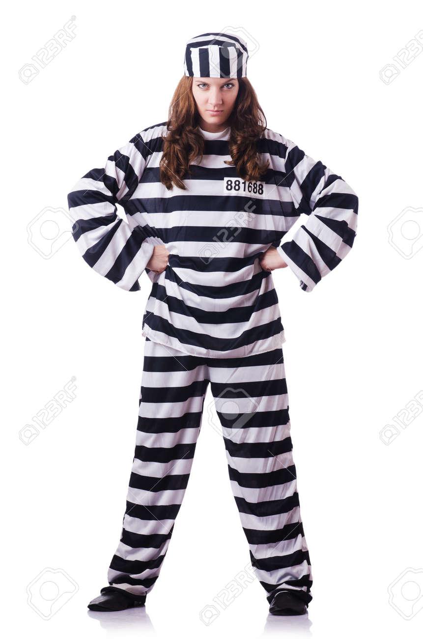 Convict criminal in striped uniform Stock Photo - 18804452