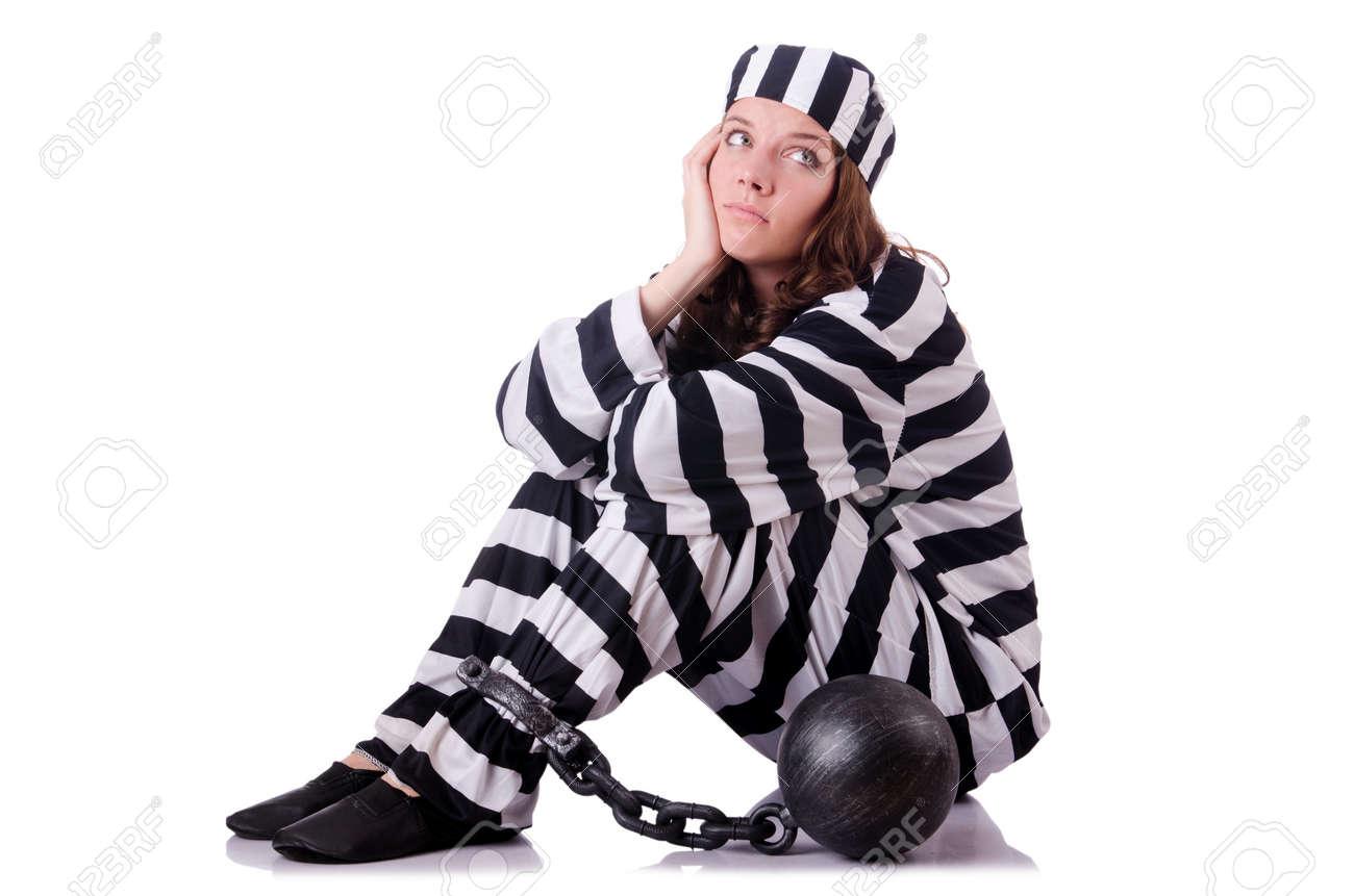 Prisoner in striped uniform on white Stock Photo - 18804417
