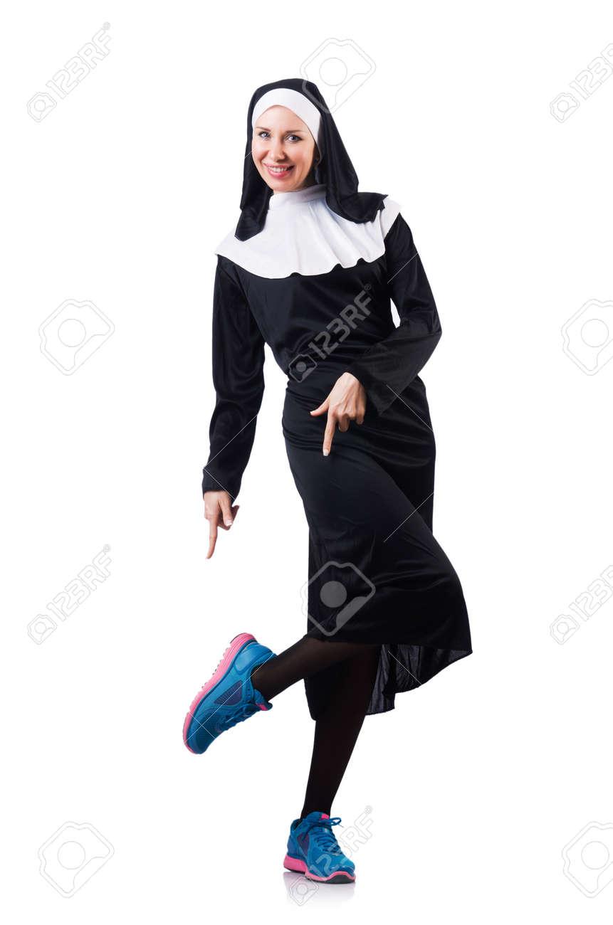 Nun isolated on the white background Stock Photo - 19005120