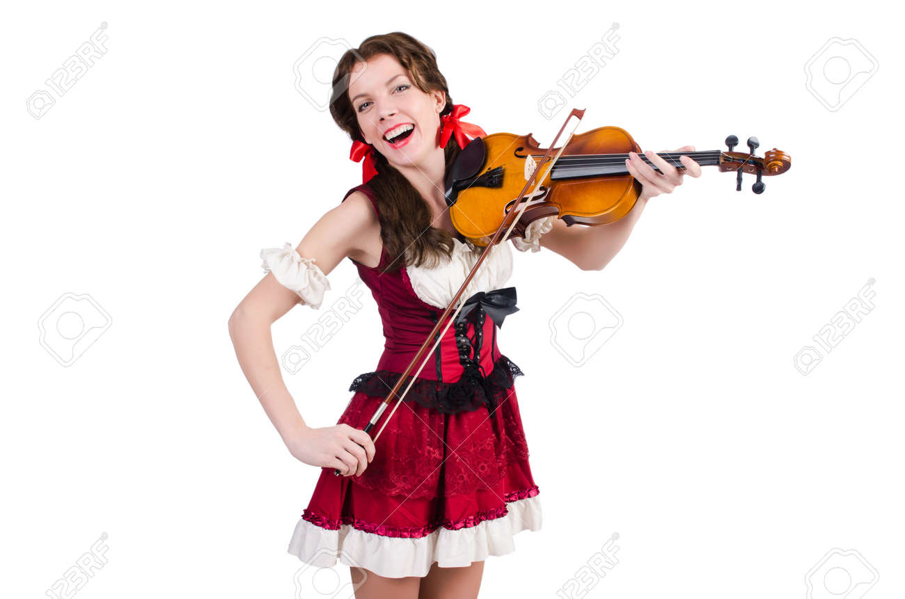 Young woman playing violin on white Stock Photo - 19005201