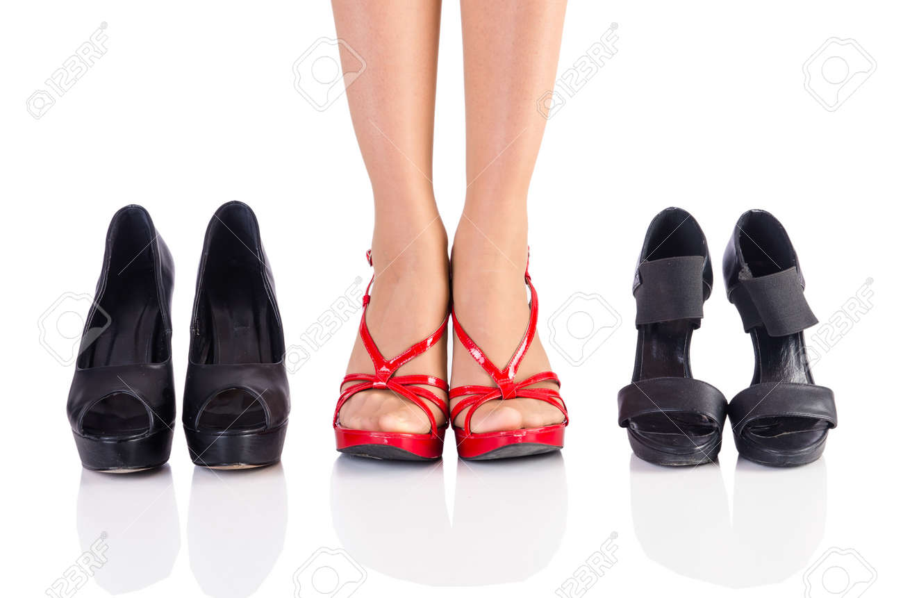 Woman trying new shoes in the shop Stock Photo - 19008908