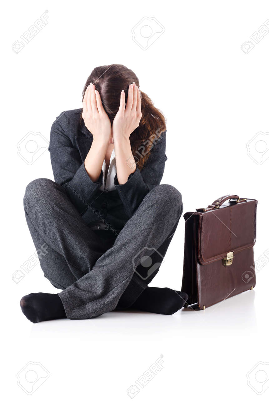 Bankrupt businesswoman isolated on white Stock Photo - 19012127
