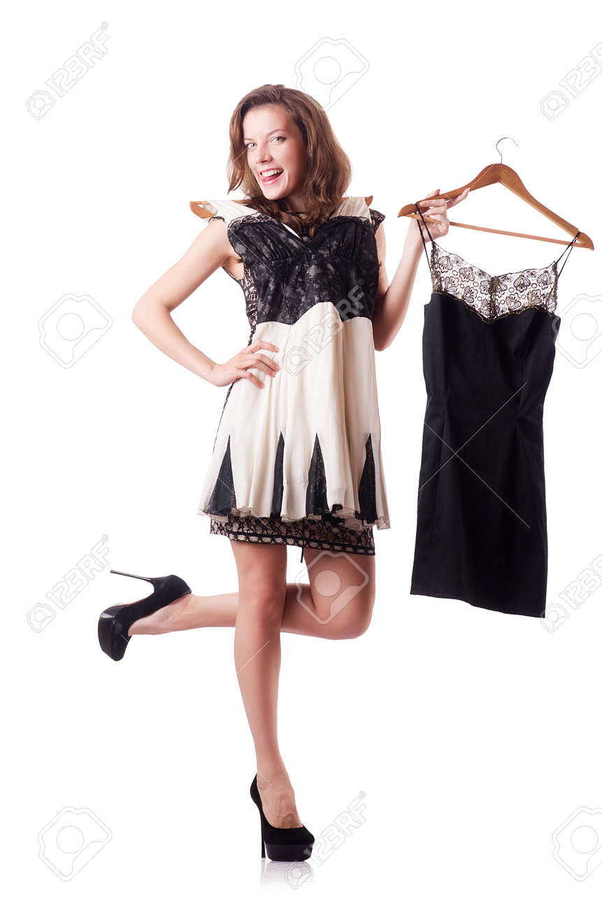 Young woman trying new clothing on white Stock Photo - 19032310