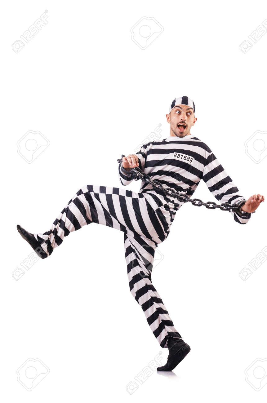 Convict criminal in striped uniform Stock Photo - 19032439