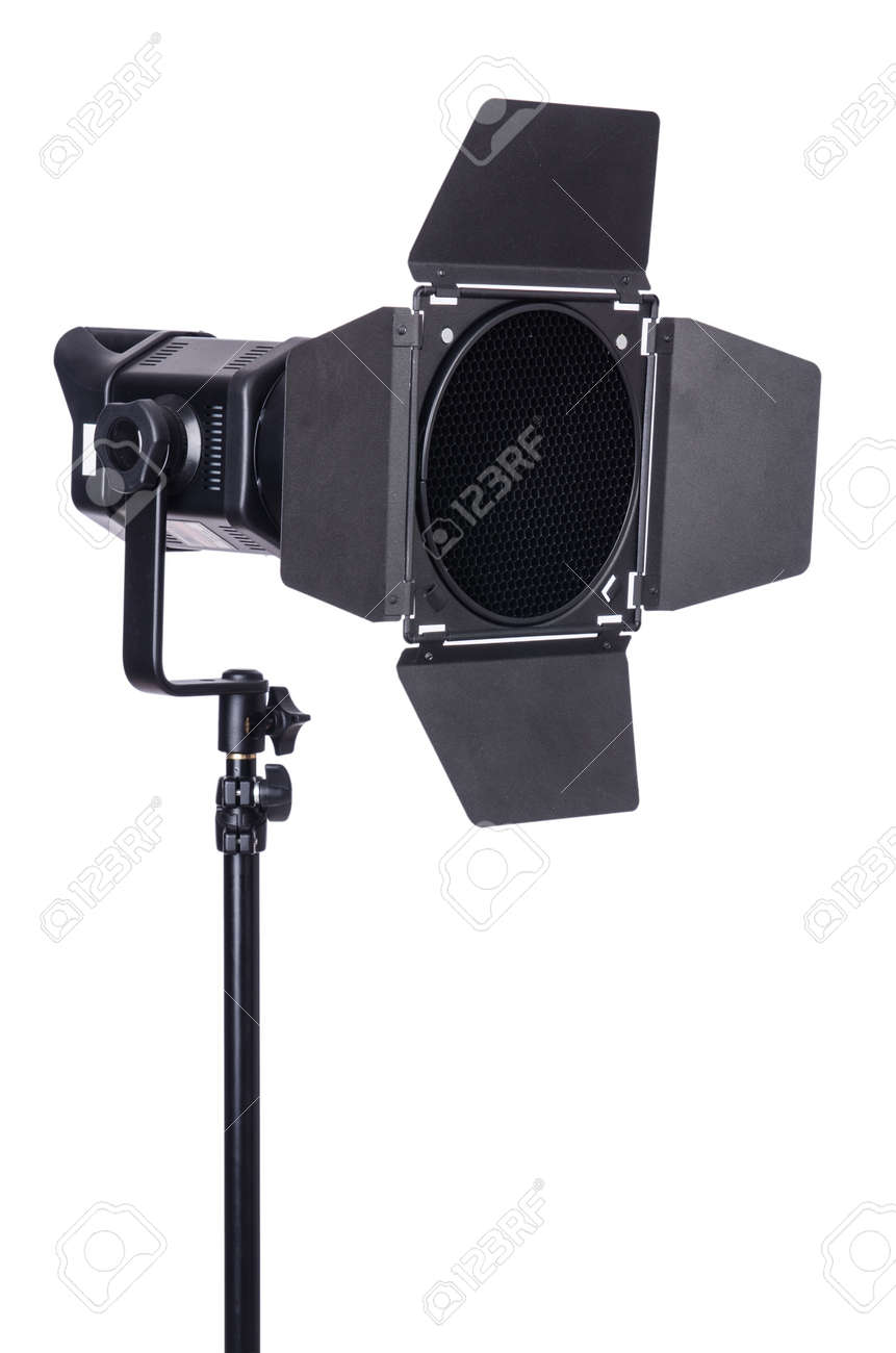 Studio light stand isolated on the white Stock Photo - 19037171