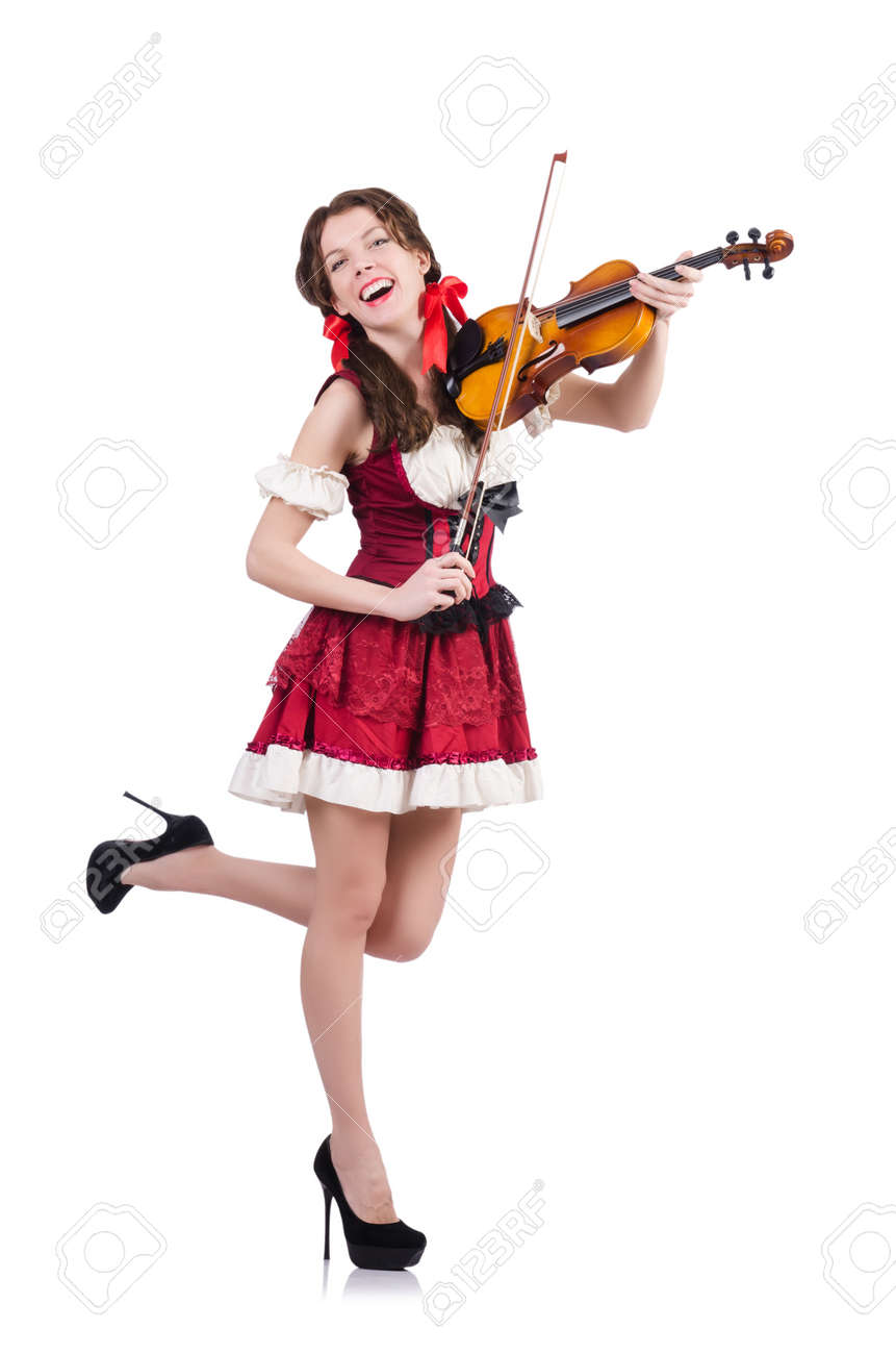Woman with violin isolated on white Stock Photo - 19141897