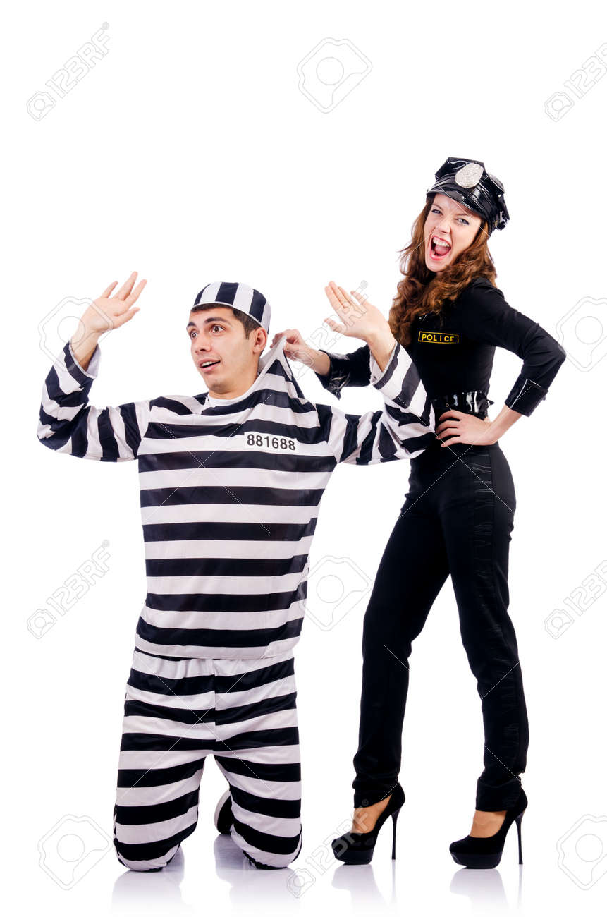 Police and prison inmate on white Stock Photo - 19292324