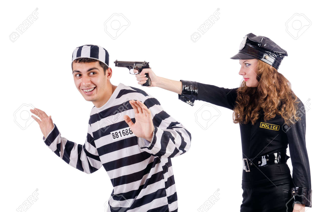Police and prison inmate on white Stock Photo - 19292387