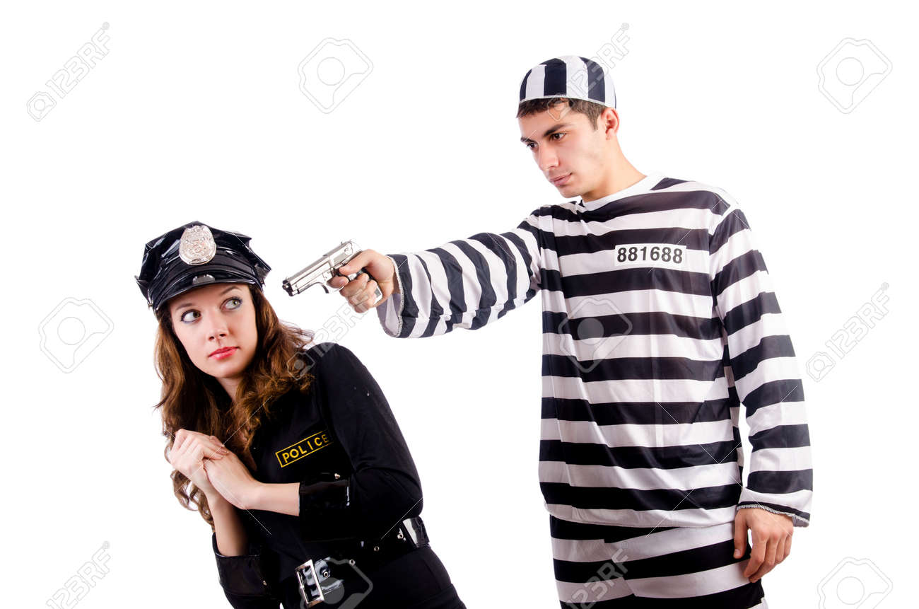 Police and prison inmate on white Stock Photo - 19292339
