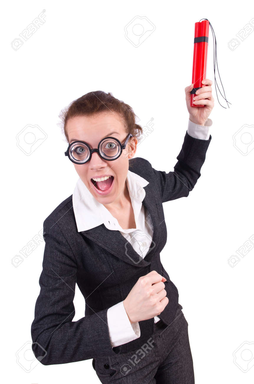 Businesswoman with dynamite on white Stock Photo - 19292413