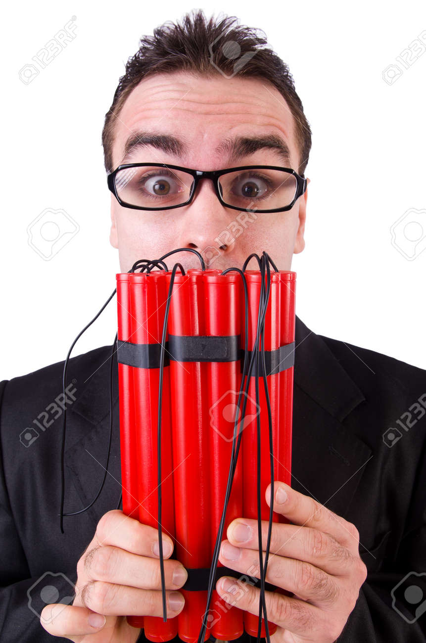 Businessman with dynamite isolated on white Stock Photo - 19142303