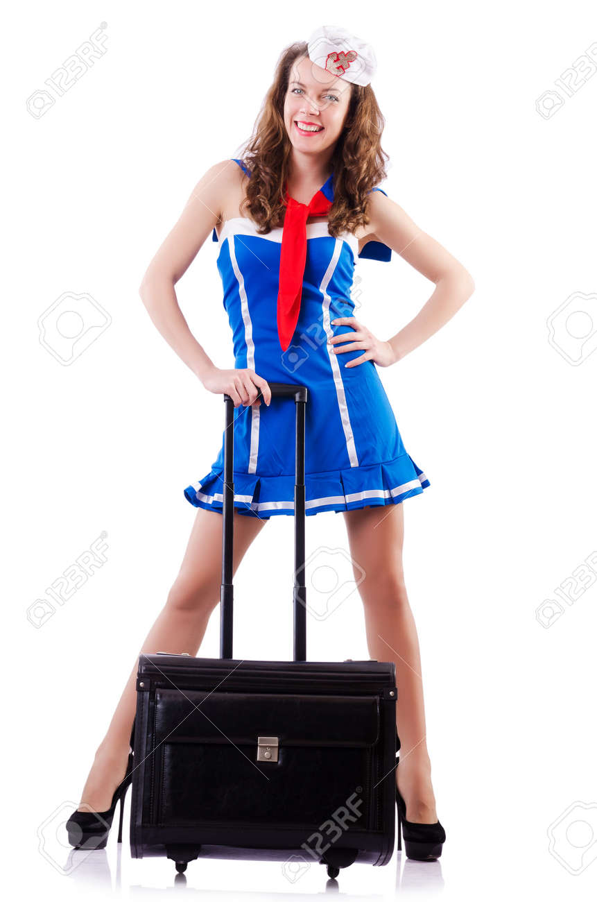 Woman sailor with suitcase on white Stock Photo - 19292344