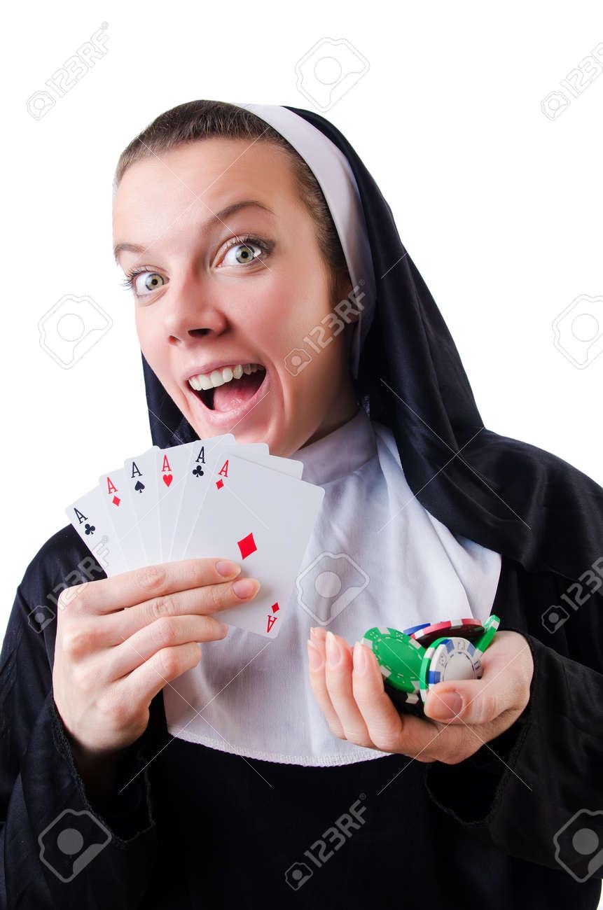 Nun in the gambling concept Stock Photo - 19292481