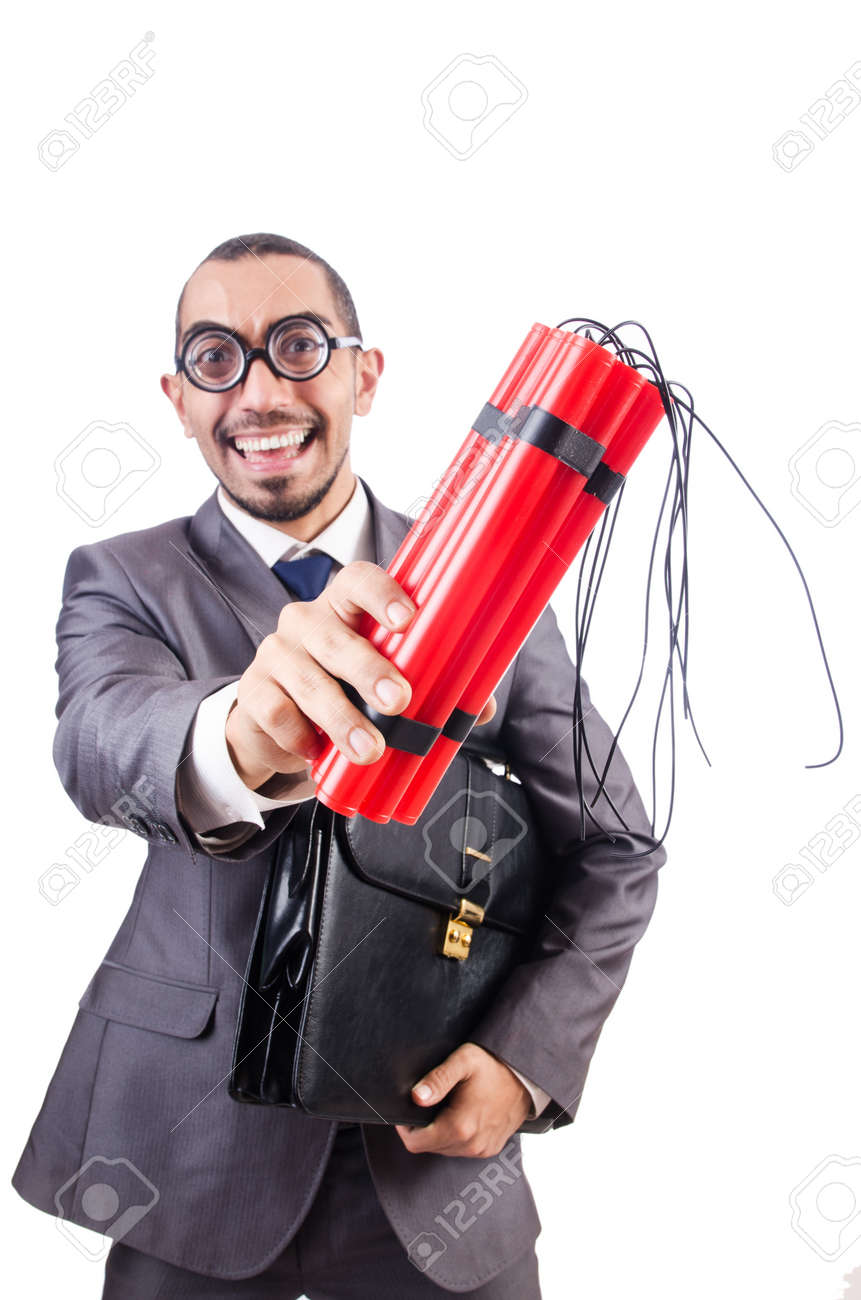 Businessman with dynamite isolated on white Stock Photo - 19292590