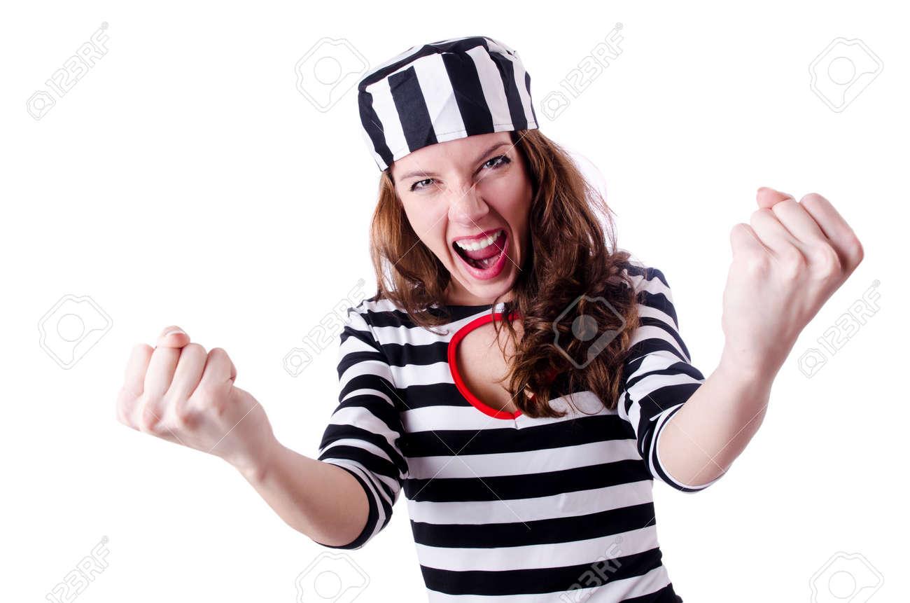 Convict criminal in striped uniform Stock Photo - 19292587
