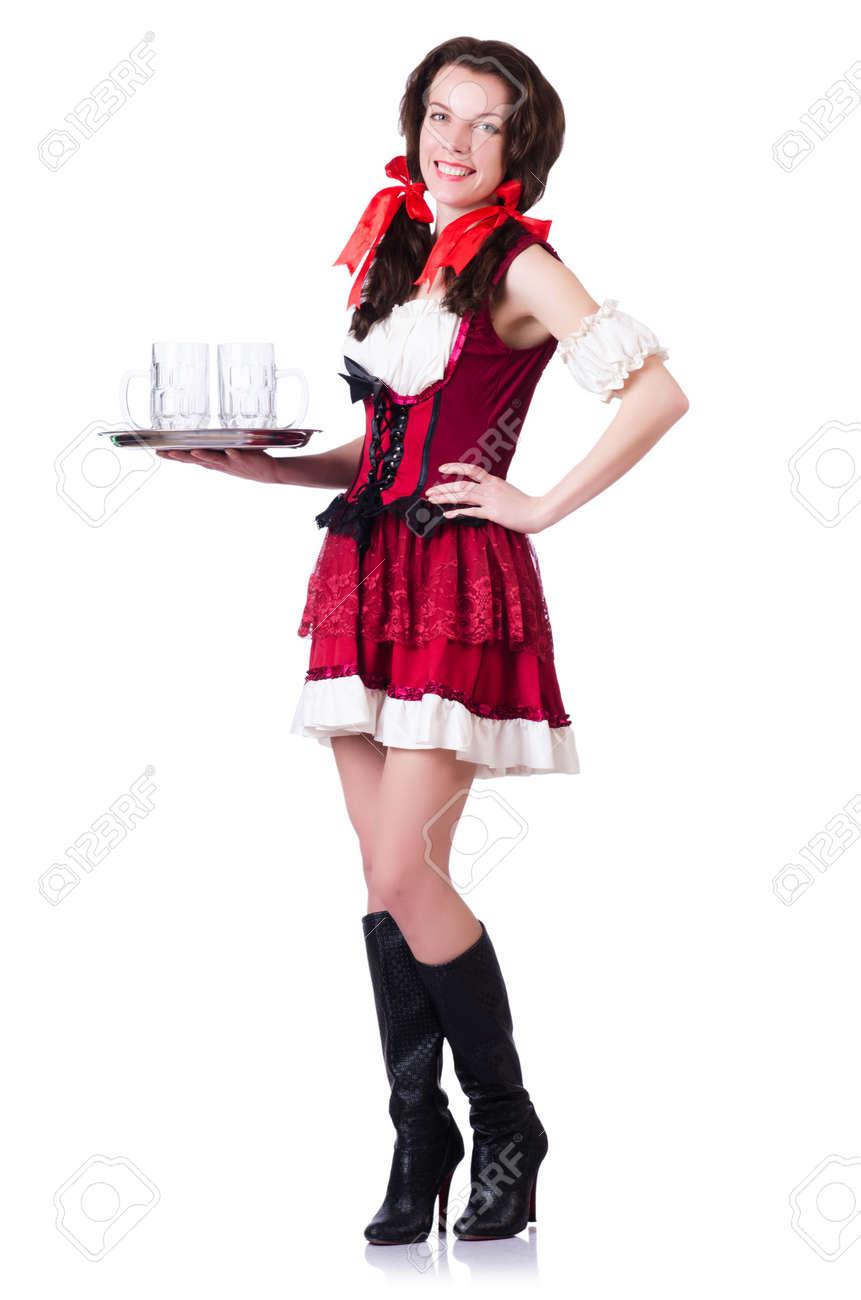Bavarian girl with tray on white Stock Photo - 19142459