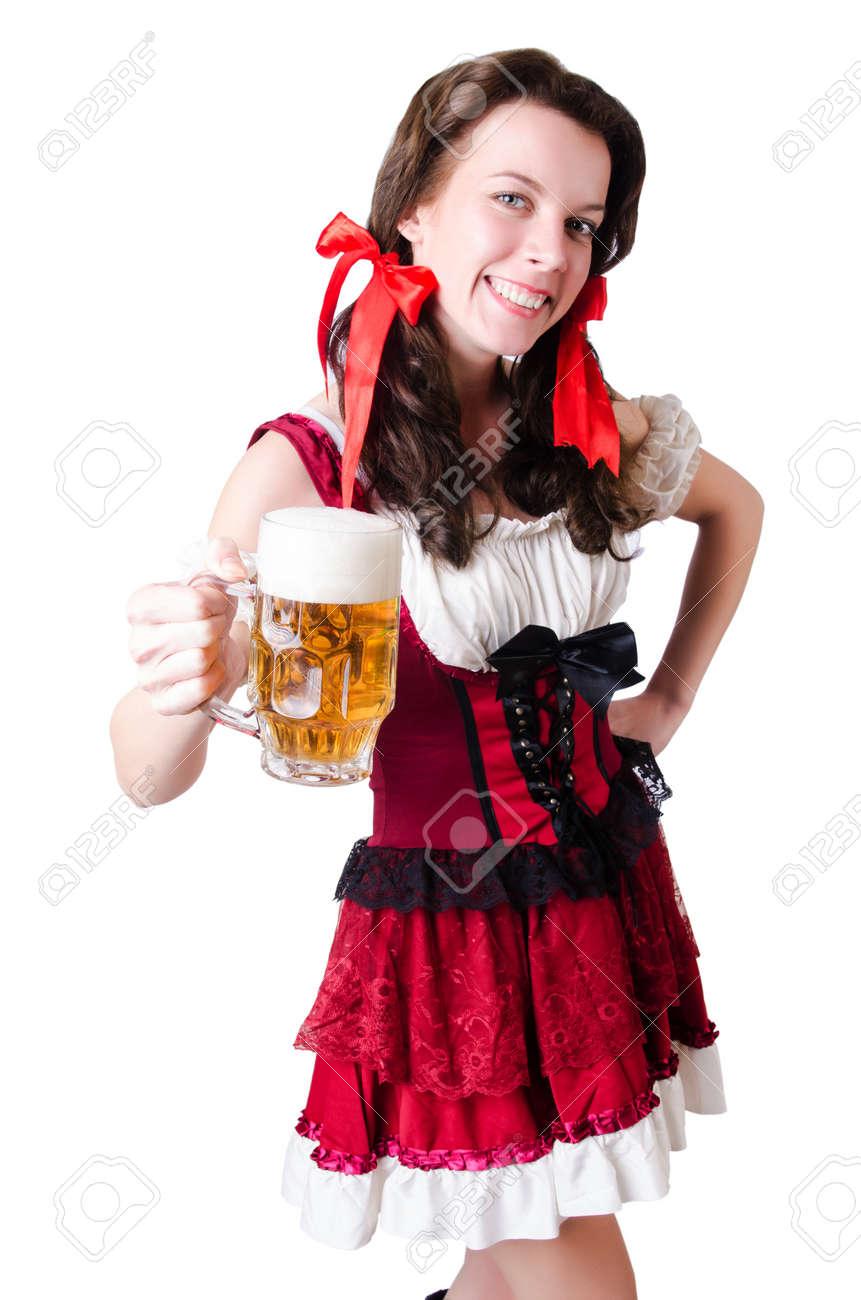 Bavarian girl with tray on white Stock Photo - 19142741