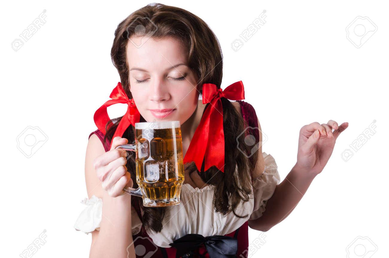 Bavarian girl with tray on white Stock Photo - 19142684