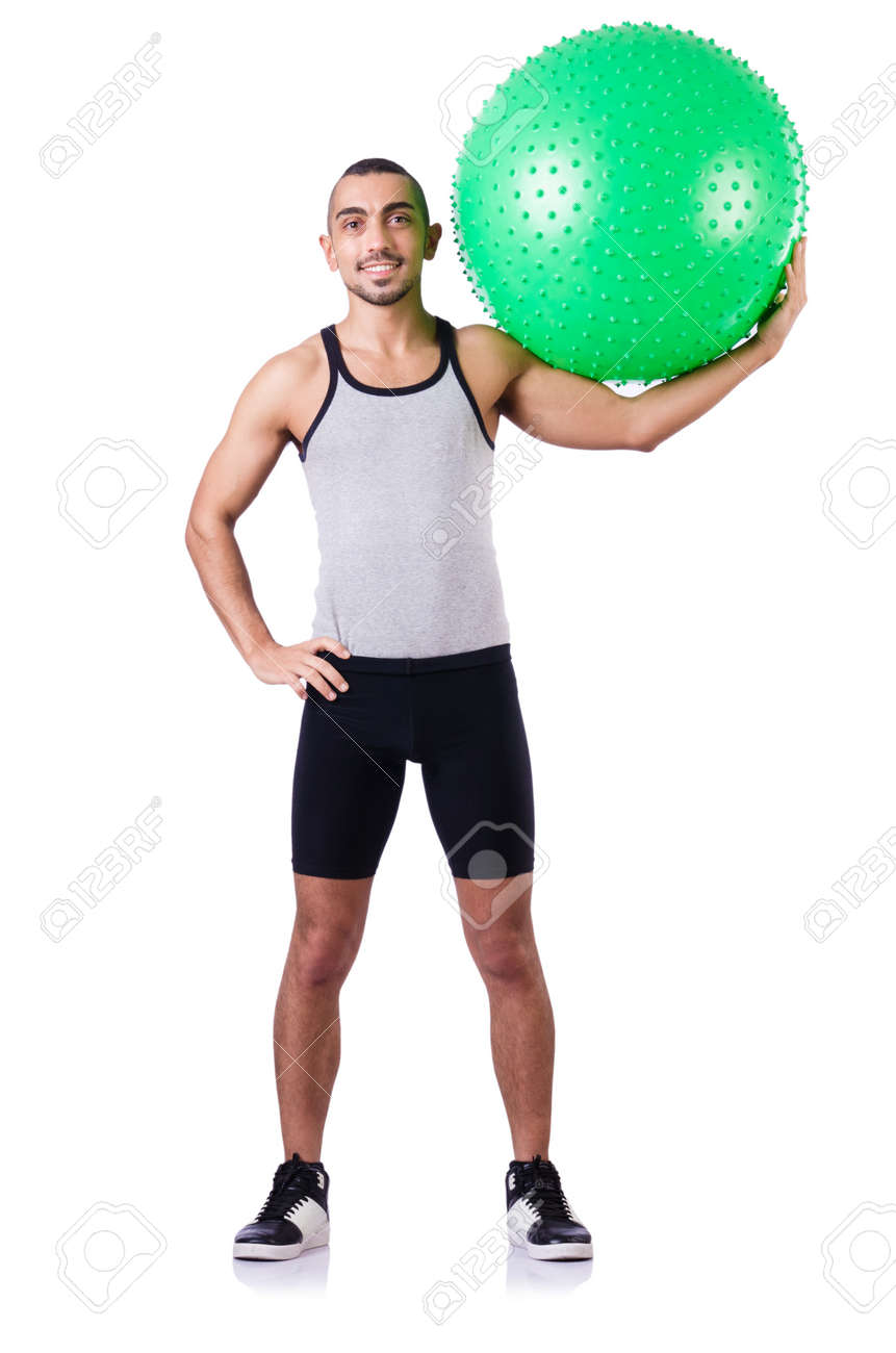 Man with swiss ball doing exercises on white Stock Photo - 19142484