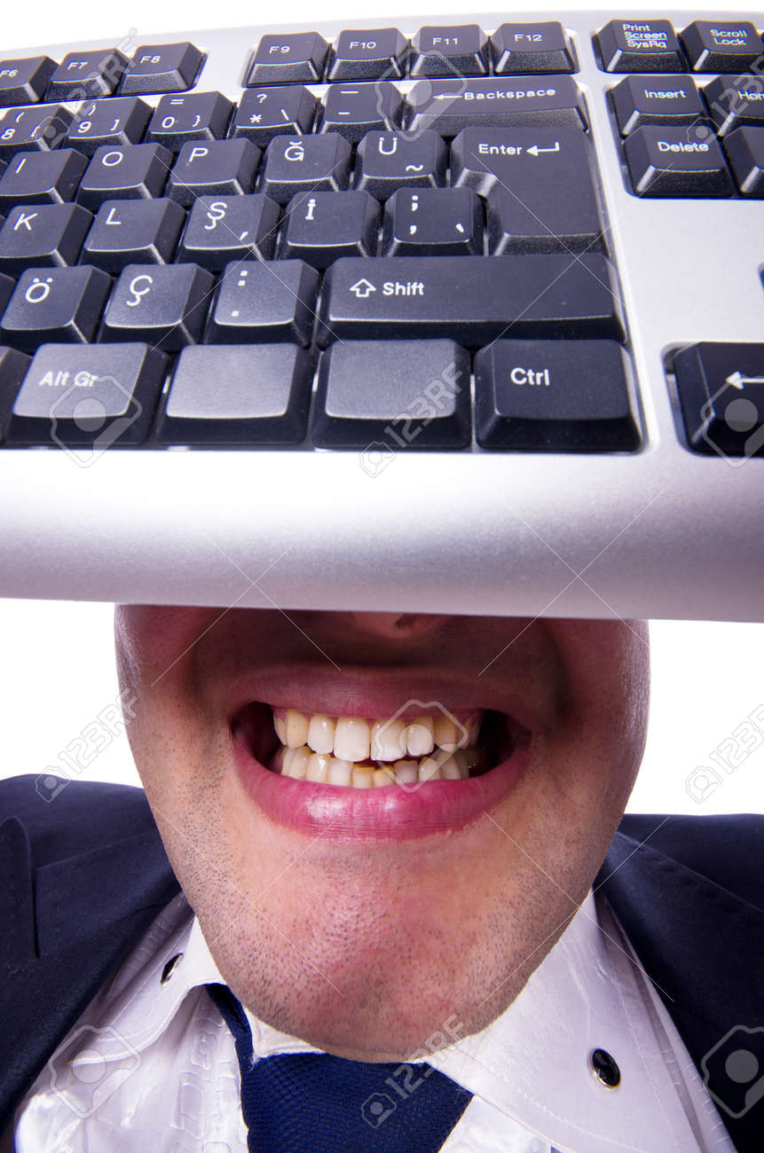 Nerd businessman with computer keyboard on white Stock Photo - 19323755