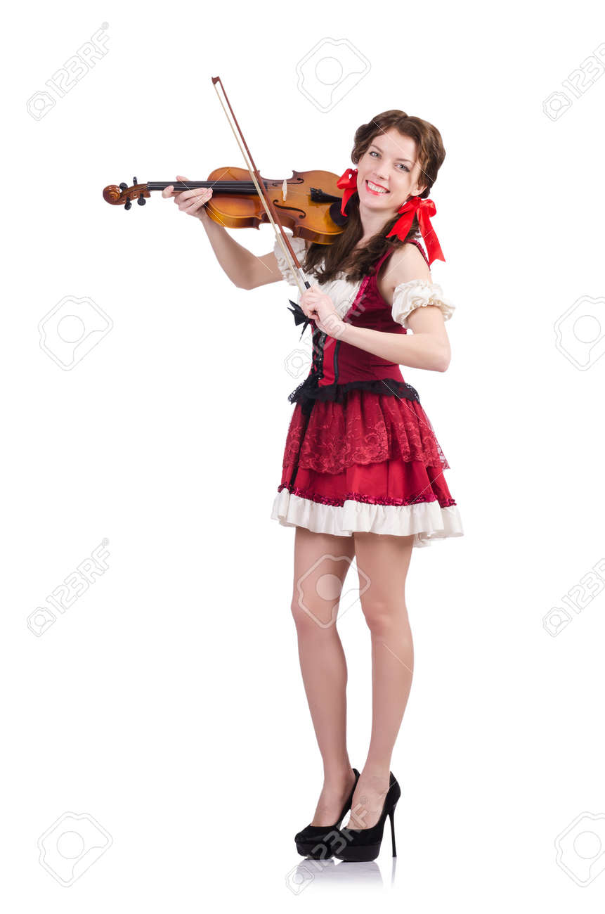 Woman with violin isolated on white Stock Photo - 19323147