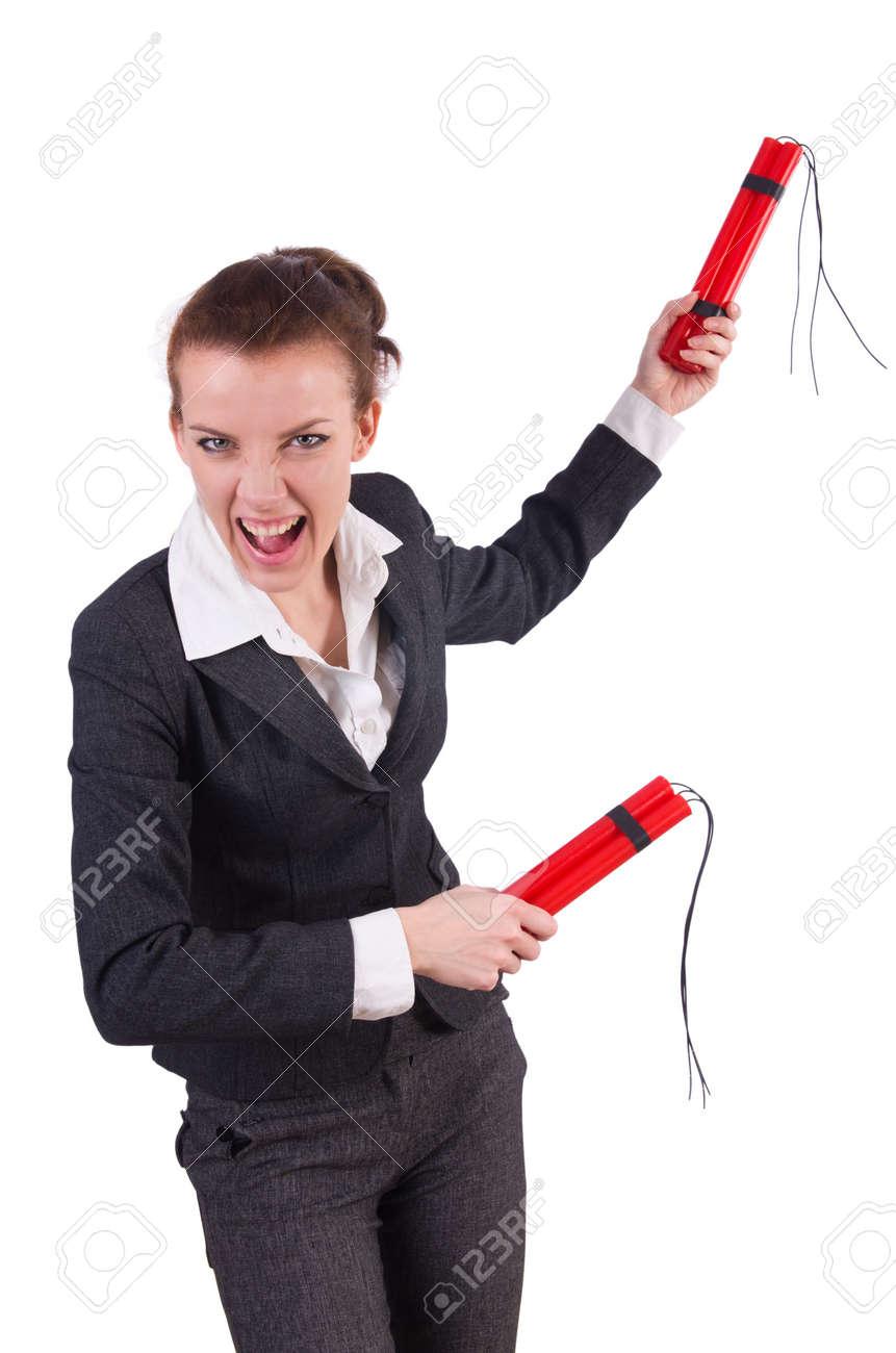 Businesswoman with dynamite on white Stock Photo - 19323503