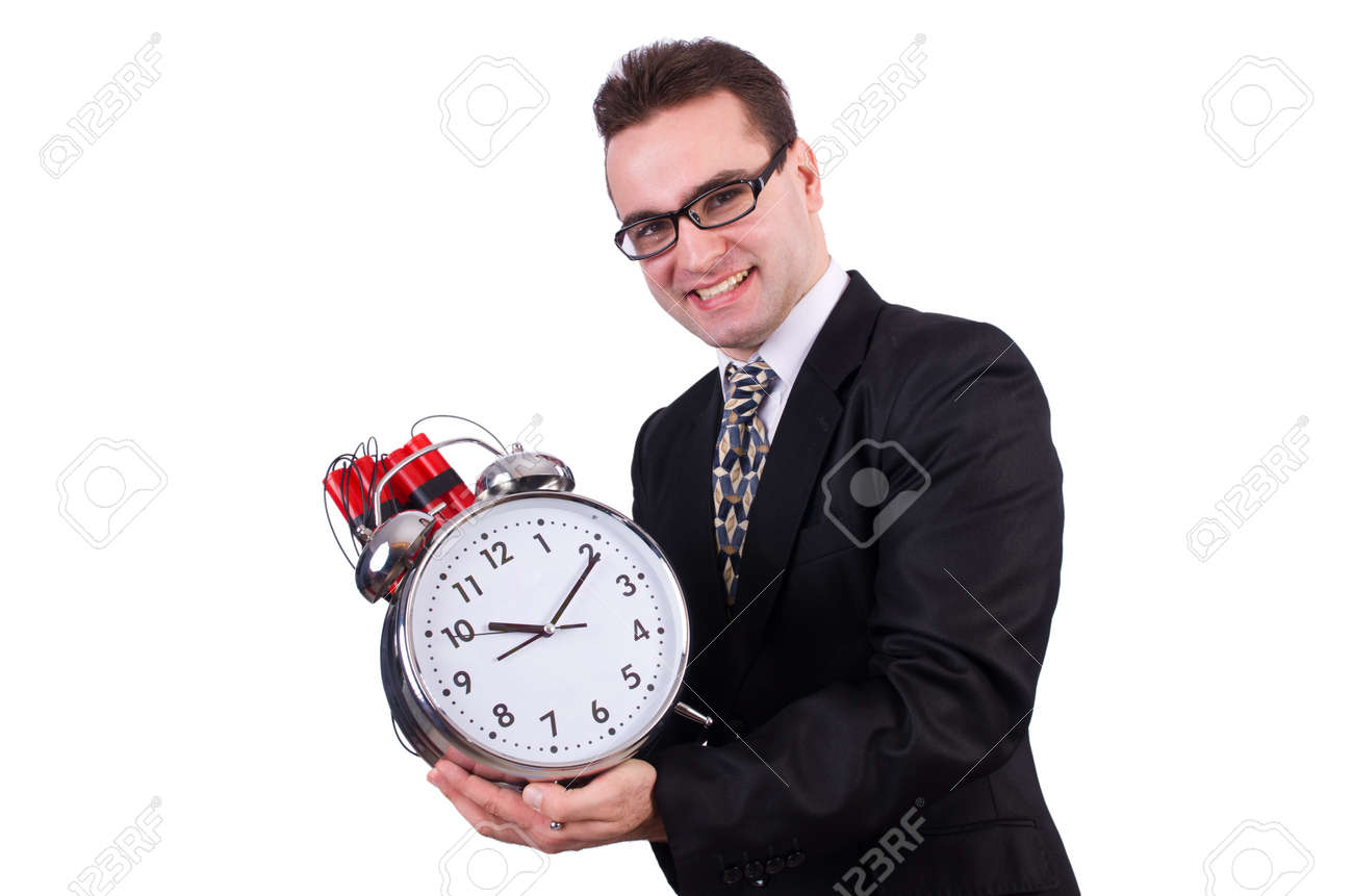 Man with time bomb isolated on white Stock Photo - 19511681