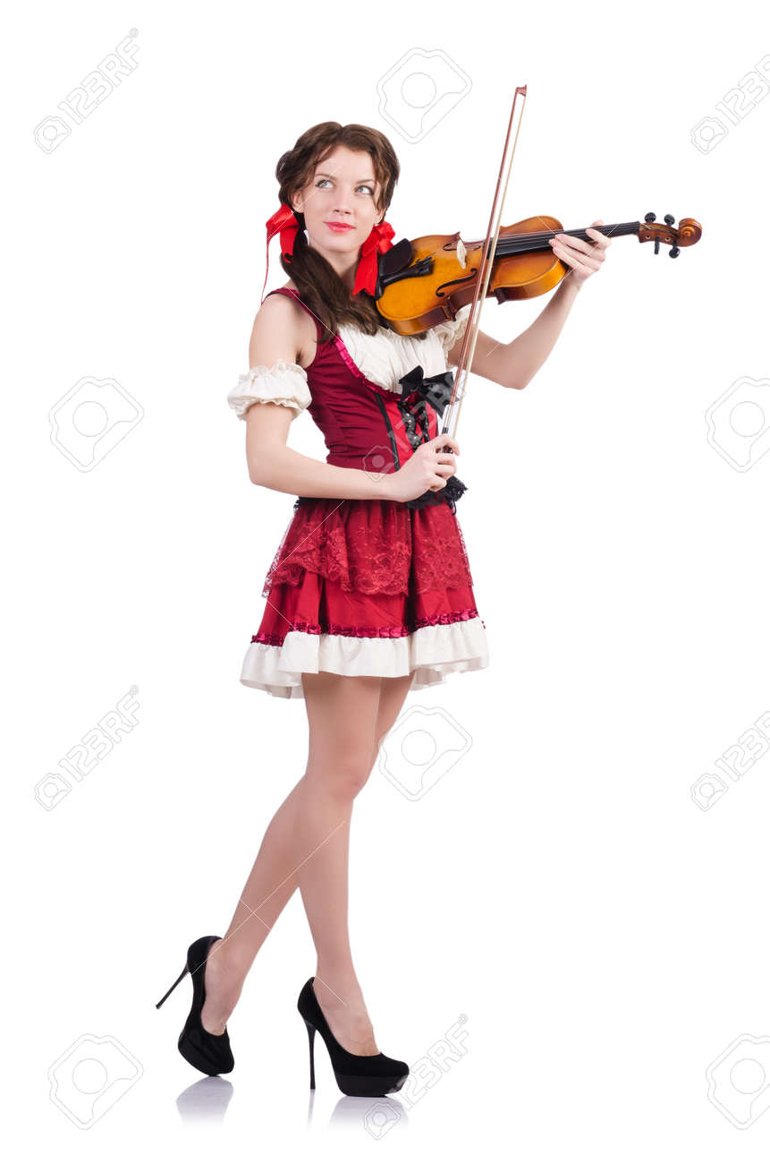 Woman with violin isolated on white Stock Photo - 19479882