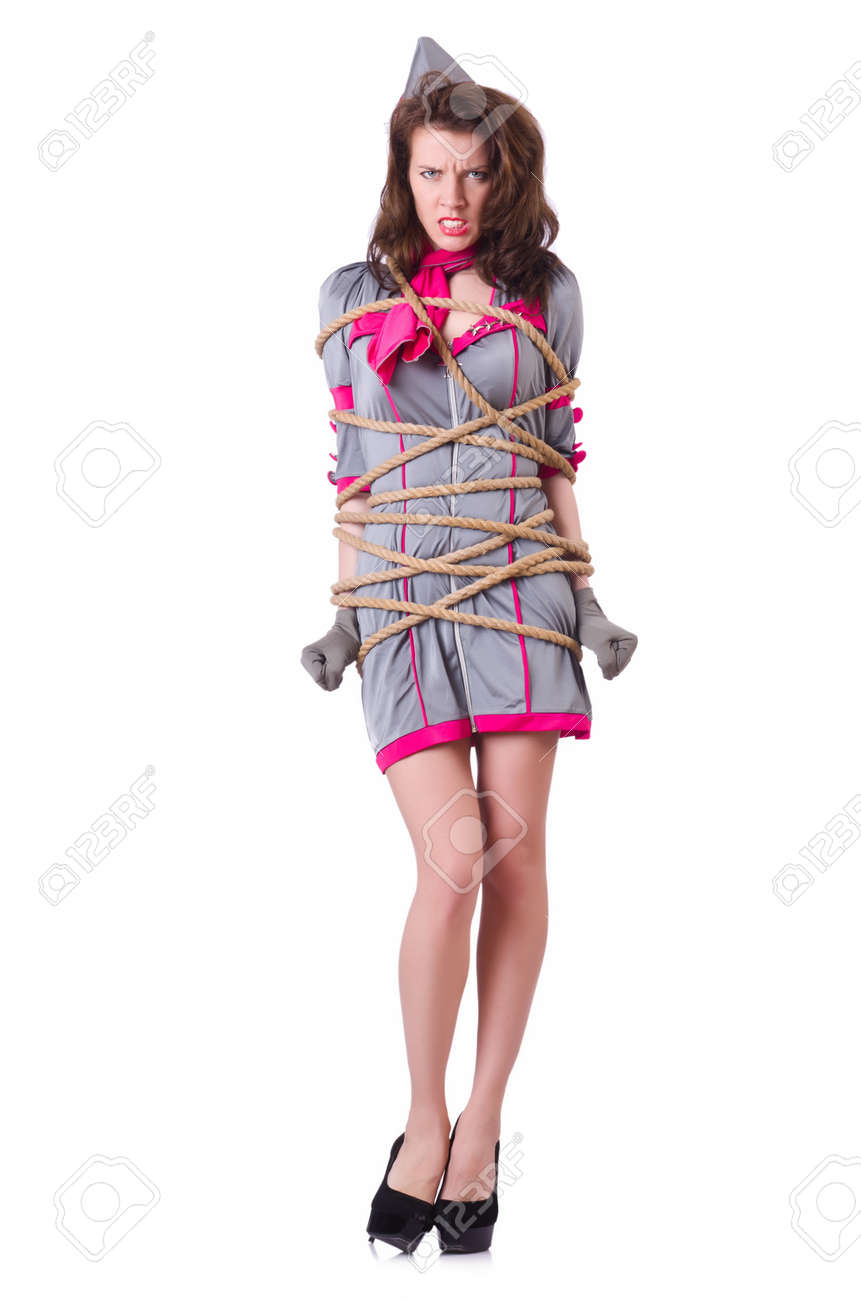 littlegirl tied up Female stewardess tied with rope Stock Photo - 19480533
