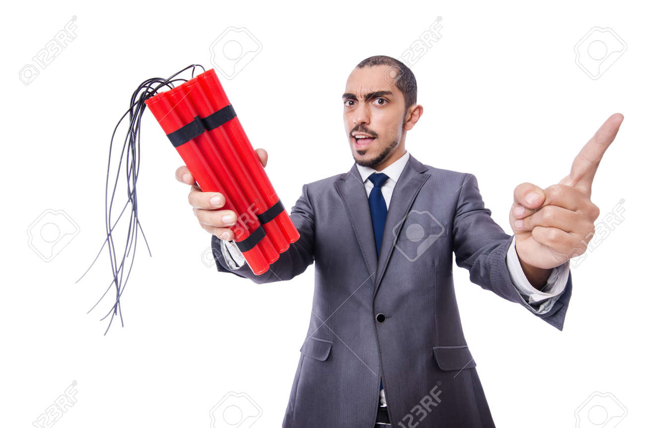 Businessman with dynamite isolated on white Stock Photo - 19512170