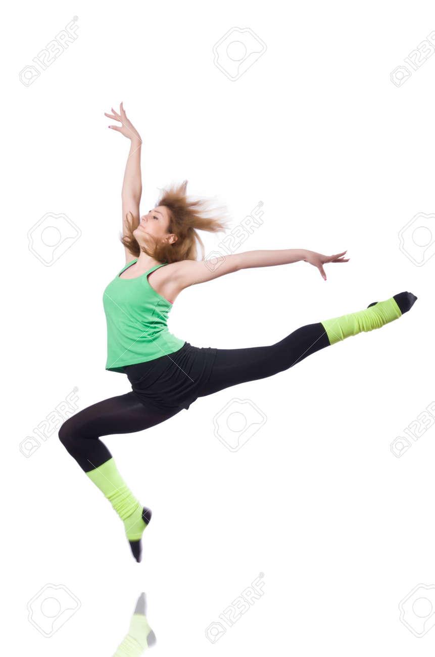 Young gymnast exercising on white Stock Photo - 19509108