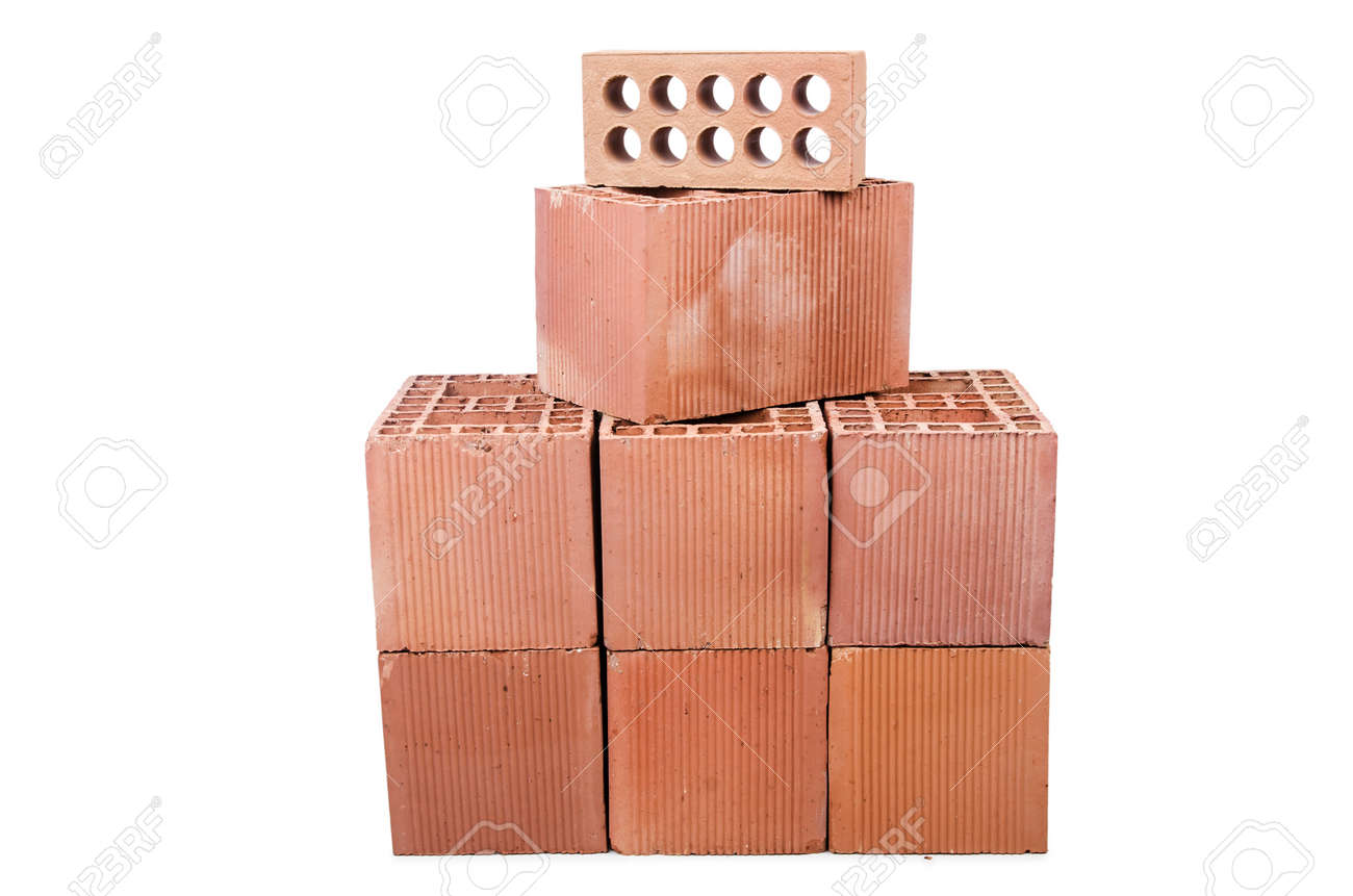 Stack of clay bricks isolated on white Stock Photo - 19370975