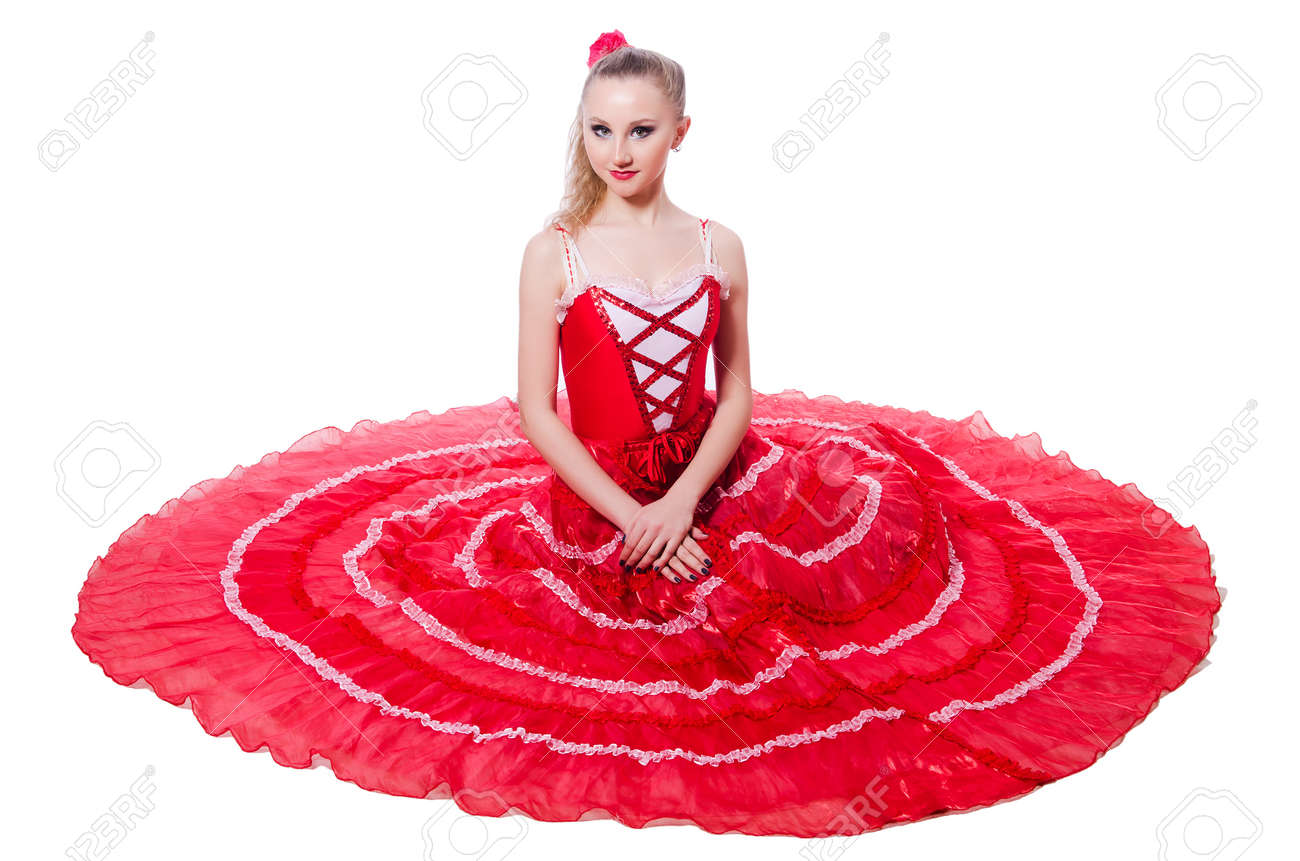 Girl in red dress dancing dance Stock Photo - 19525422