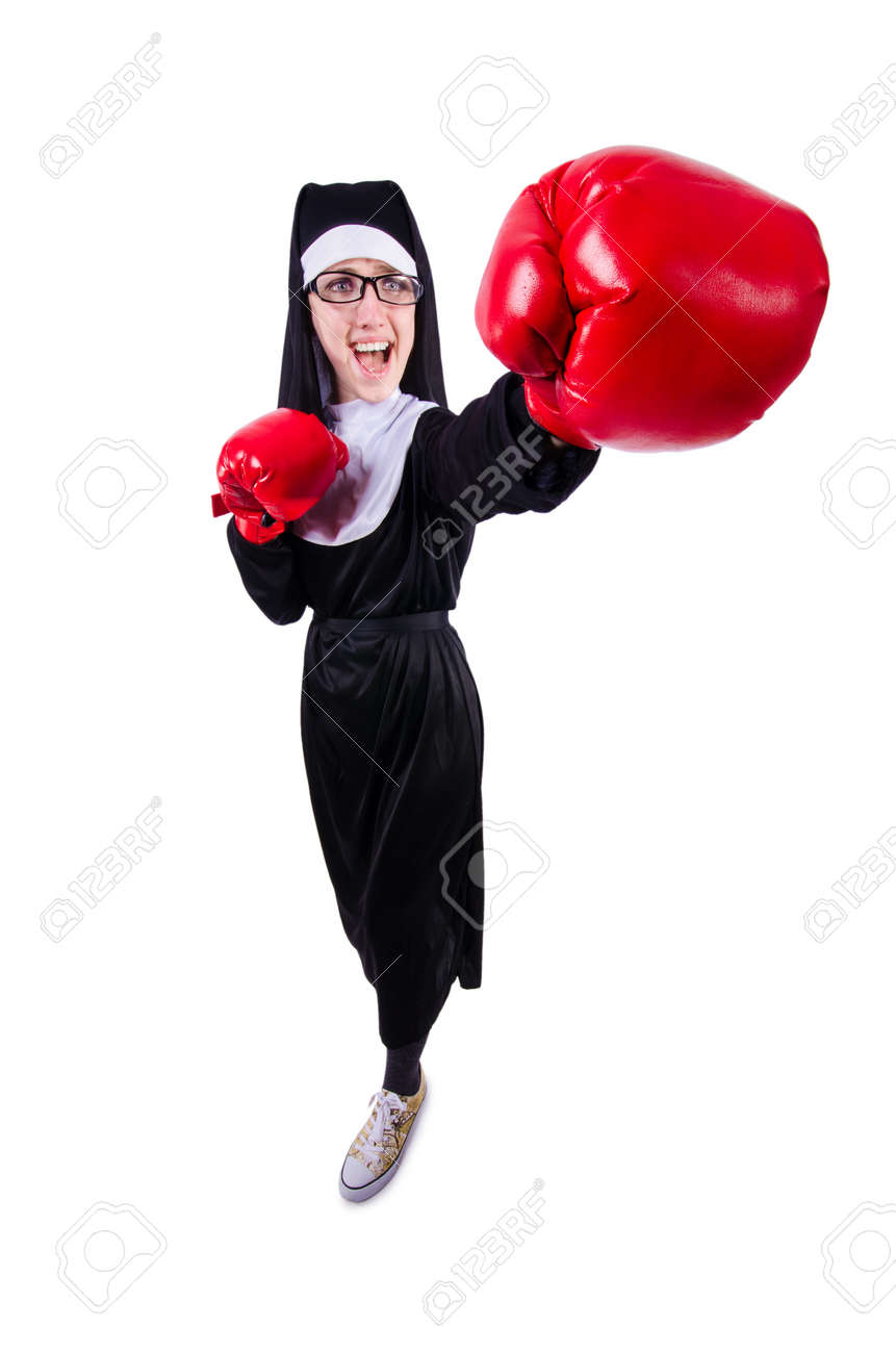 Nun with boxing gloves isolated on white Stock Photo - 19512285