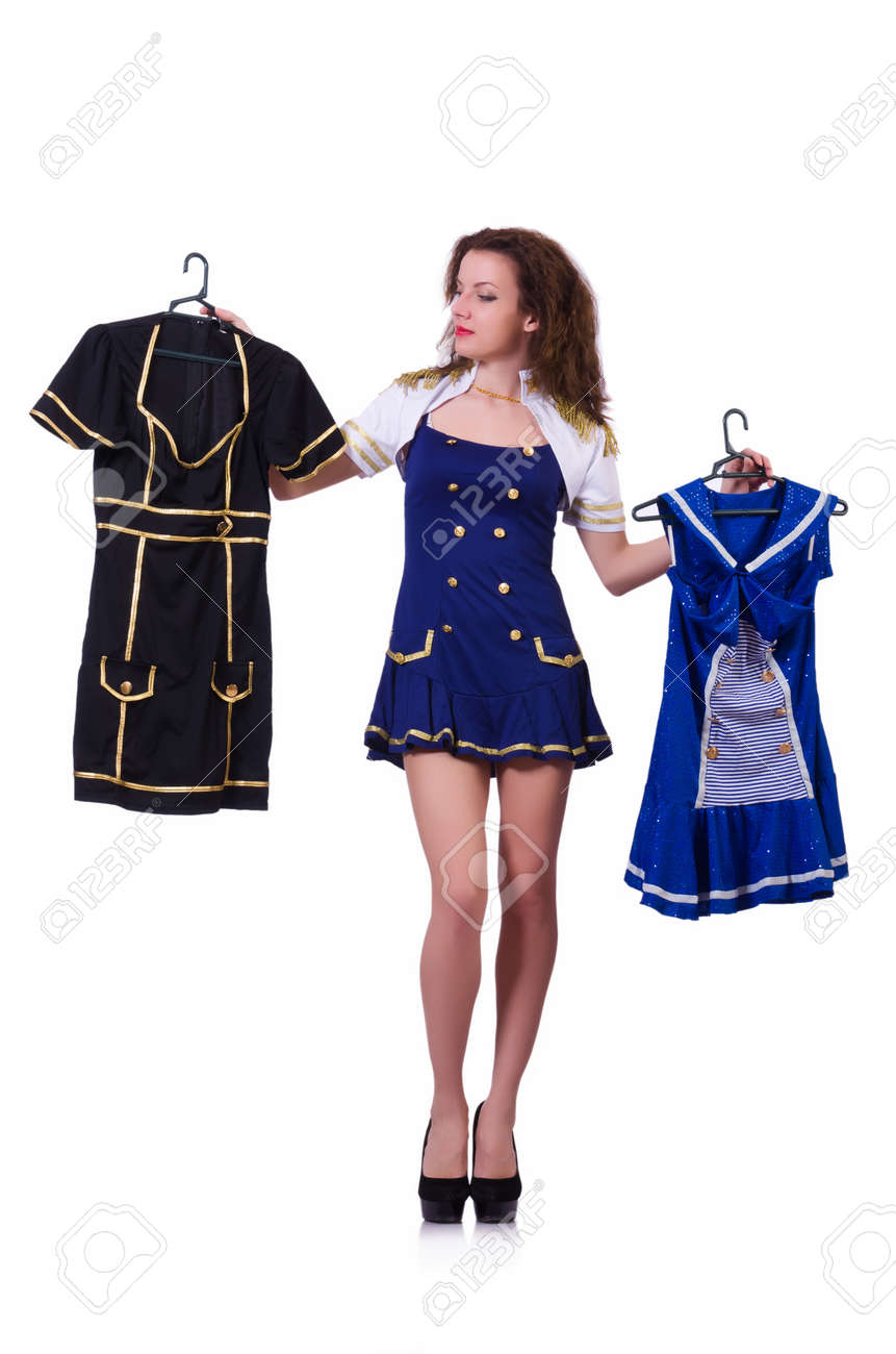 Woman trying to choose dress on white Stock Photo - 19501301