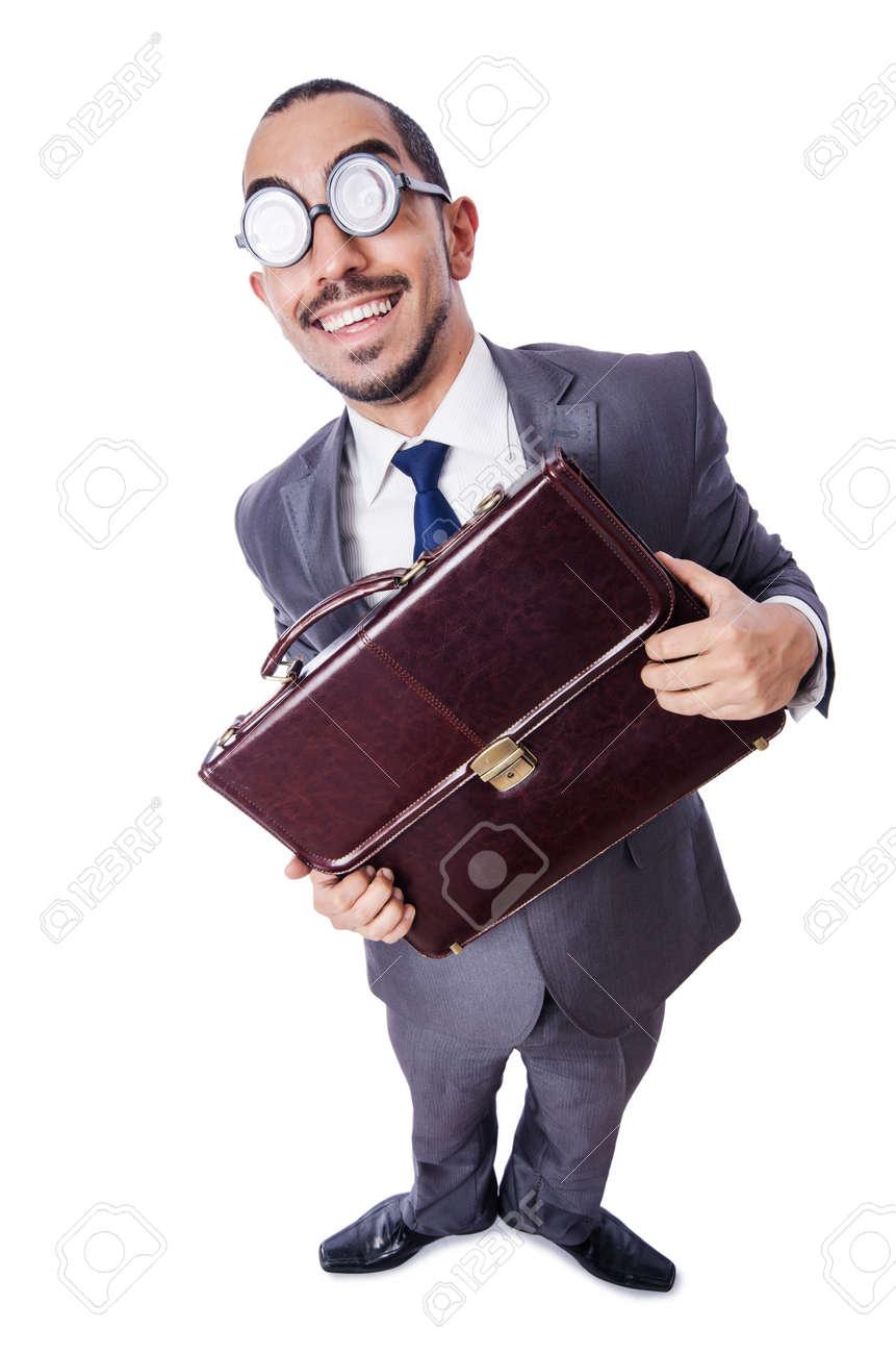 Funny nerd businessman isolated on white Stock Photo - 19479007