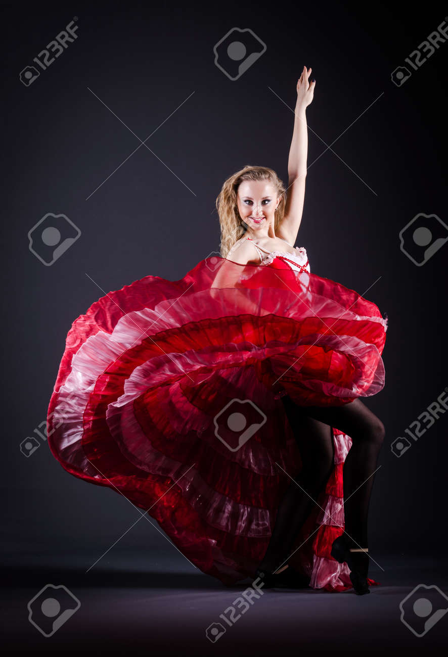 Girl in red dress dancing dance Stock Photo - 19482737