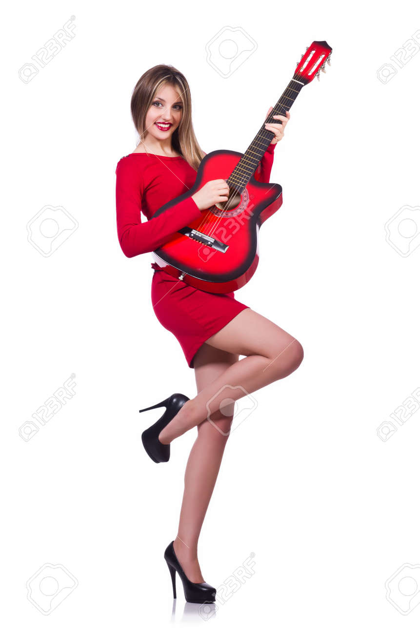 Guitar player woman isolated on white Stock Photo - 19512555