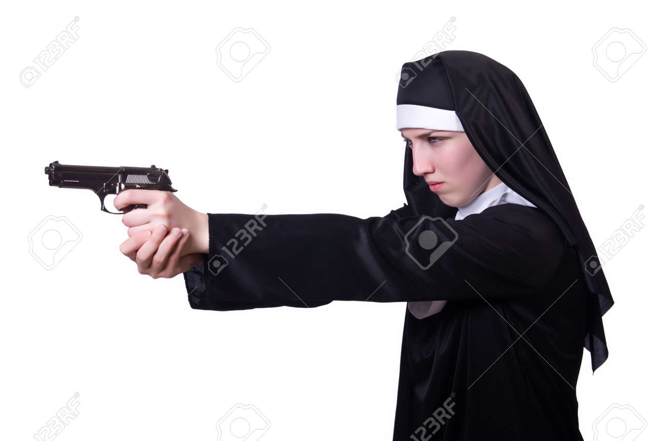 Nun with handgun isolated on white Stock Photo - 19512765