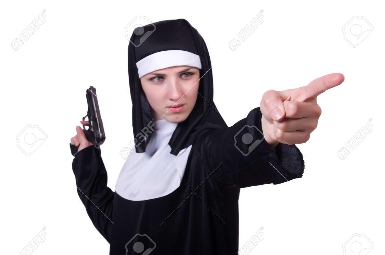 Nun with handgun isolated on white Stock Photo - 19512612