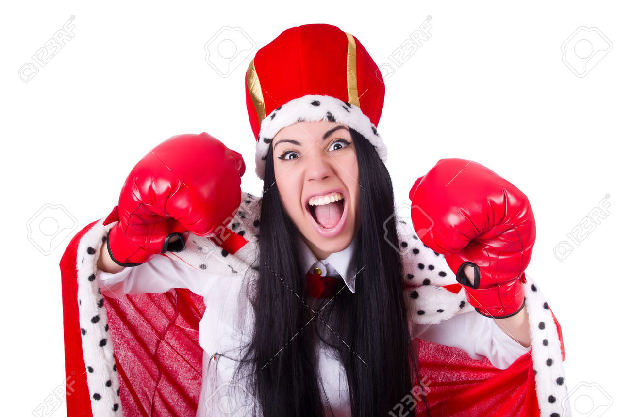 Businesswoman queen with boxing gloves Stock Photo - 19513361
